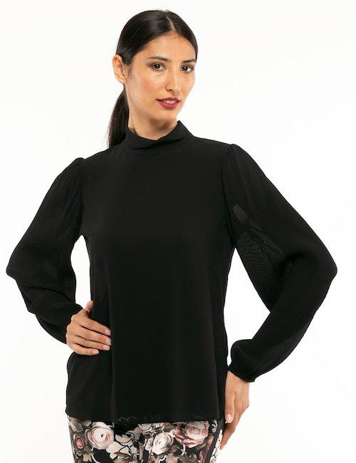 Camicia Fracomina con maniche plissé - Nero