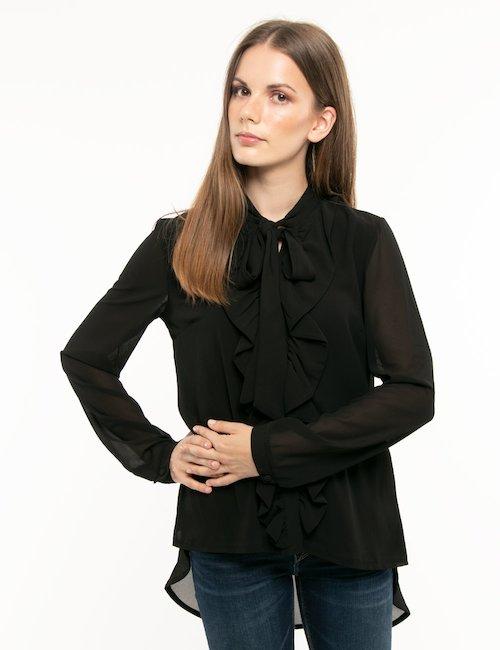Camicia Fracomina con fiocco al collo - Nero