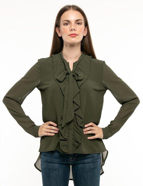 Camicia Fracomina con fiocco al collo - Verde