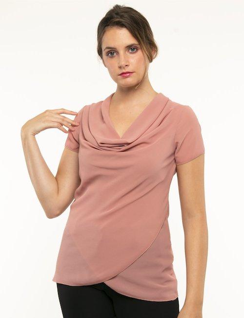 T-shirt Vougue scollo ampio - Rosa