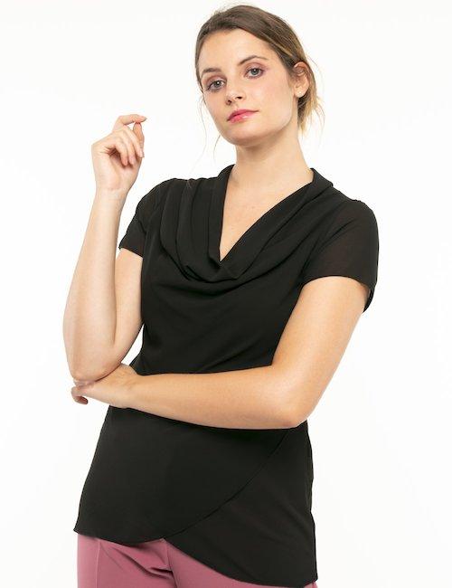 T-shirt Vougue scollo ampio - Nero