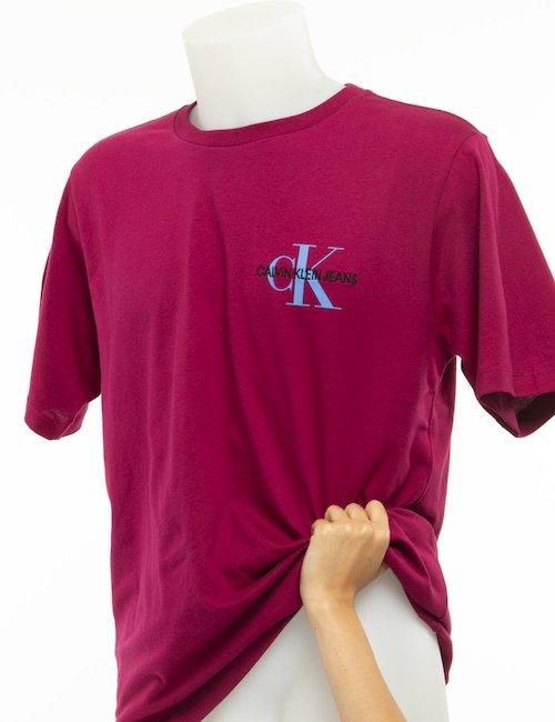 T-shirt Calvin Klein logo a lato - Bordeaux
