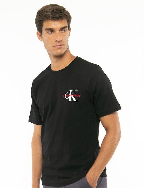 T-shirt Calvin Klein logo a lato - Nero