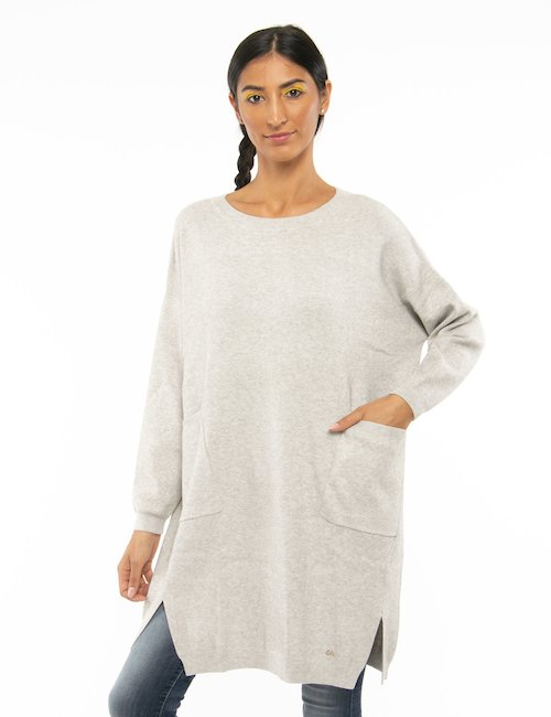 Maglione Yes Zee con tasche applicate - Beige