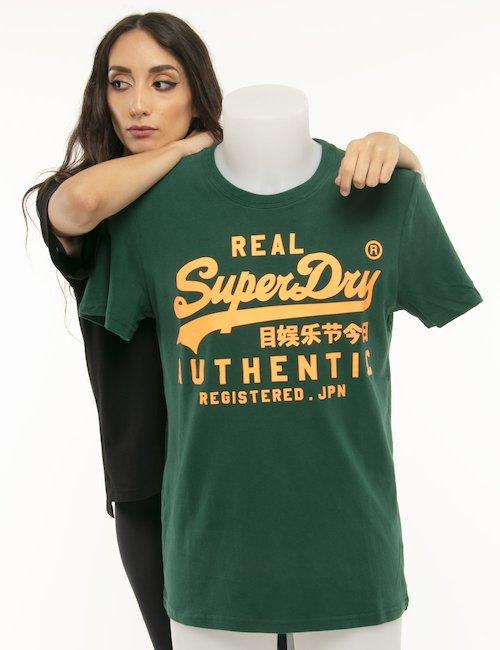 T-shirt Superdry logo fluo - Verde