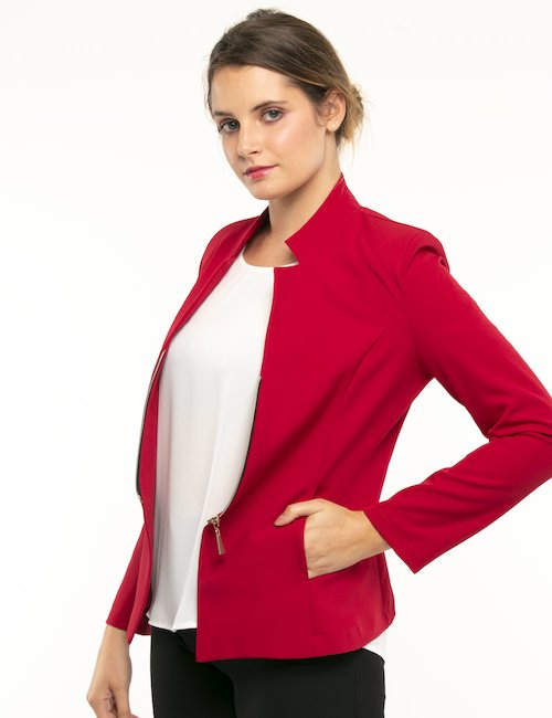Giacca Vougue con zip - Rosso