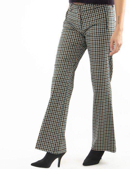 Pantalone Vougue a quadretti taglio regolare - Blu