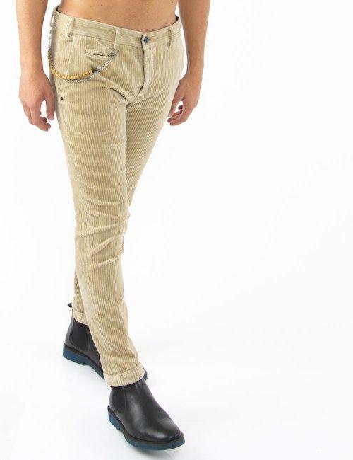 Pantalone Yes Zee a costine - Crema