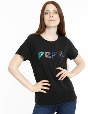 T-shirt Pepe Jeans logo in paillettes