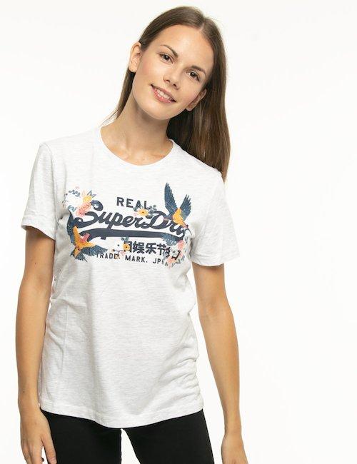 T-shirt Superdry con logo centrale - Grigio