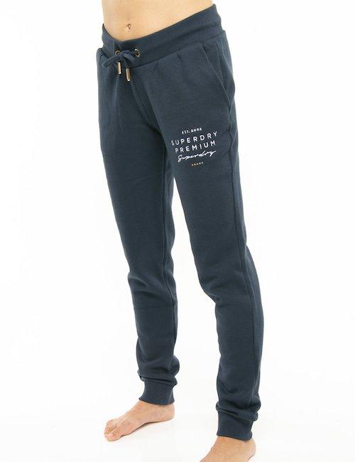 Pantalone Superdry con logo ricamato - Blu
