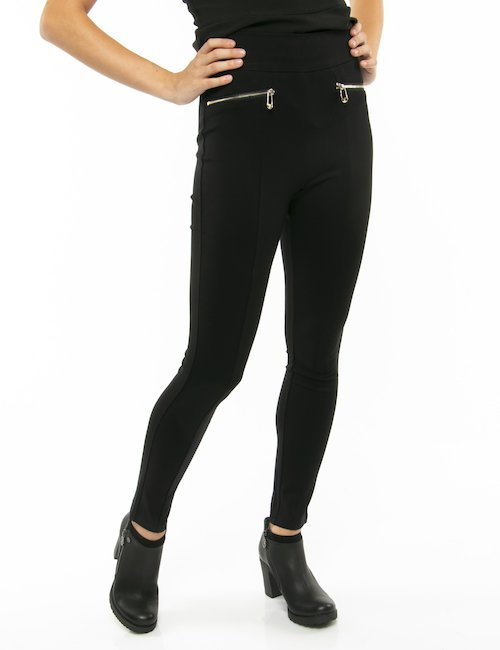 Pantalone Guess con zip dorate - Nero