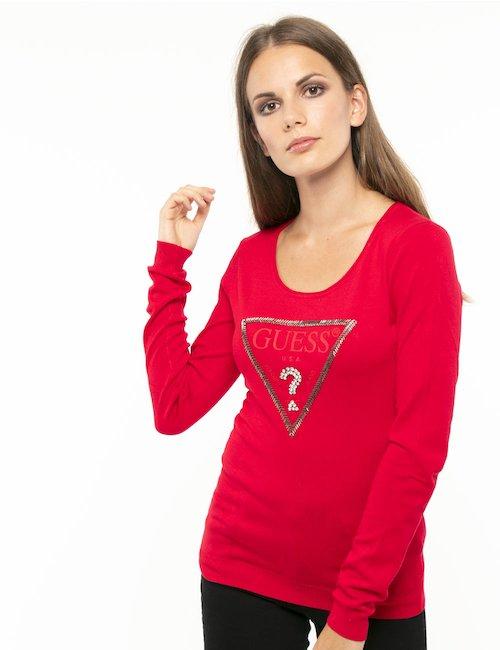 Maglia Guess logo in rilievo - Rosso