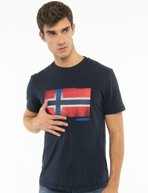 T-shirt Napapijri con bandiera norvegese - Blu