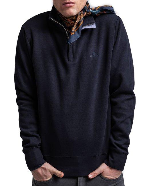 Felpa Gant con zip corta - Blu