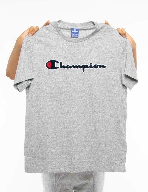 T-shirt Champion con logo in rilievo - Grigio