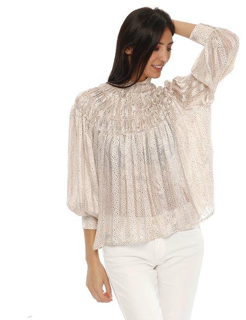 Camicia Yes Zee arricciata - Beige