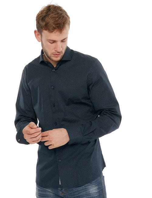Camicia Yes Zee a pois - Blu