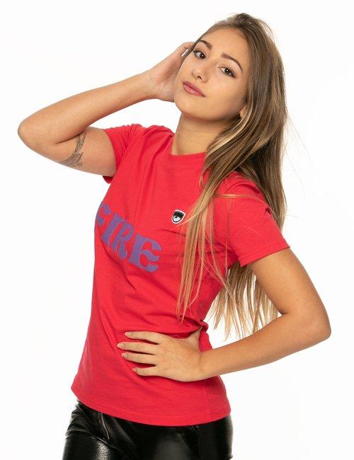T-shirt Chiara Ferragni con scritta - Rosso