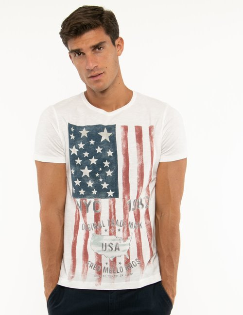 T-shirt Fred Mello con stampa vintage - Bianco