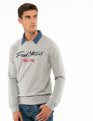 Felpa Fred Mello collo in denim