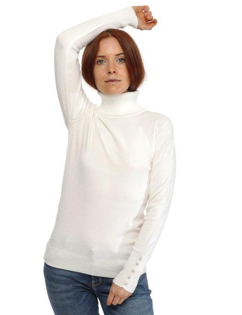 Maglione Yes Zee a collo alto lurex - Bianco