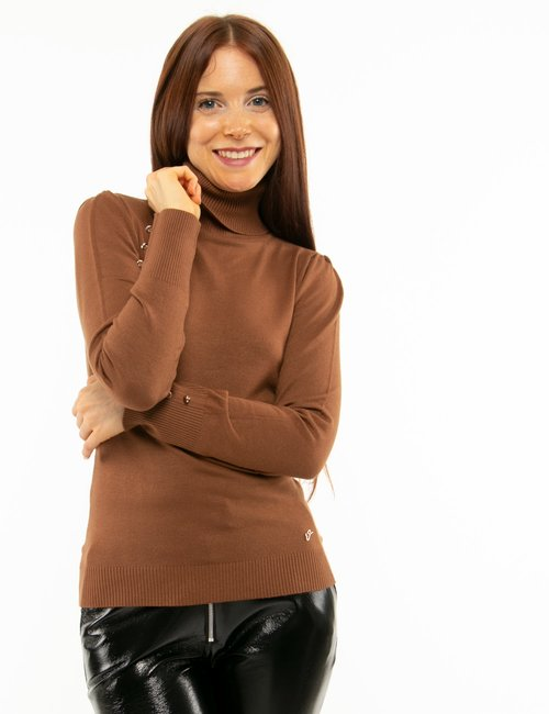 Maglione Yes Zee a collo alto - Marrone