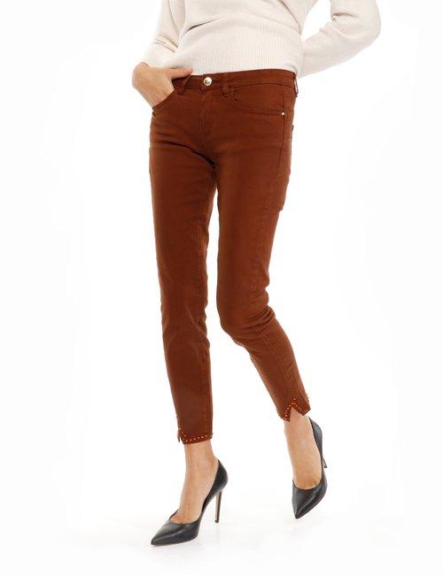 Jeans Yes Zee con strass - Marrone