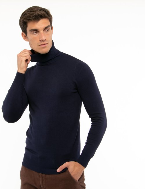 Maglione Smiling London a collo alto - Blu