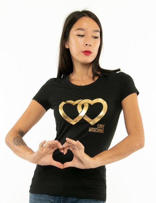 T-shirt Love Moschino con stampa gold - Nero