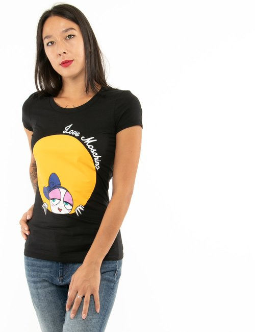 T-shirt Love Moschino con stampa colorata - Nero