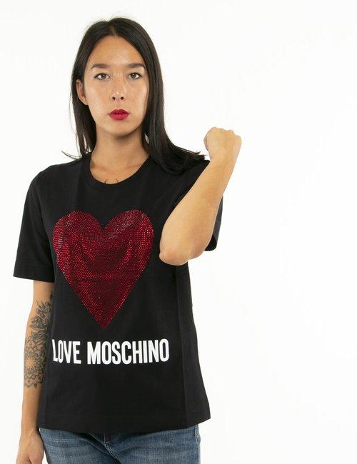 T-shirt Love Moschino cuore con strass - Nero