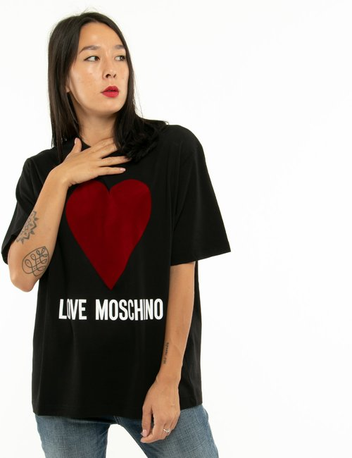 T-shirt Love Moschino cuore in velluto - Nero