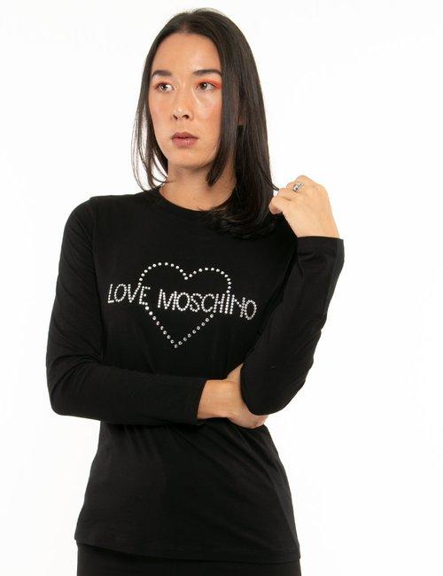 Maglia Love Moschino con strass - Nero