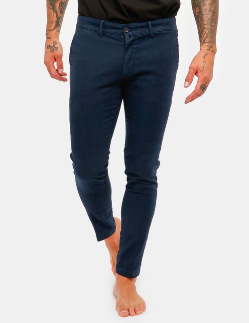 Pantalone Asquani con bottone interno - Blu