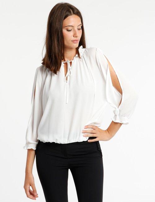 Camicia Vougue con arricciature - Bianco