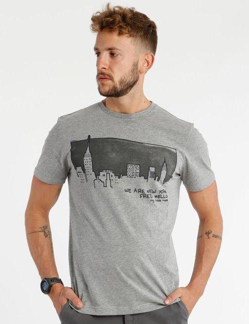 T-shirt Fred Mello stampa New York - Grigio
