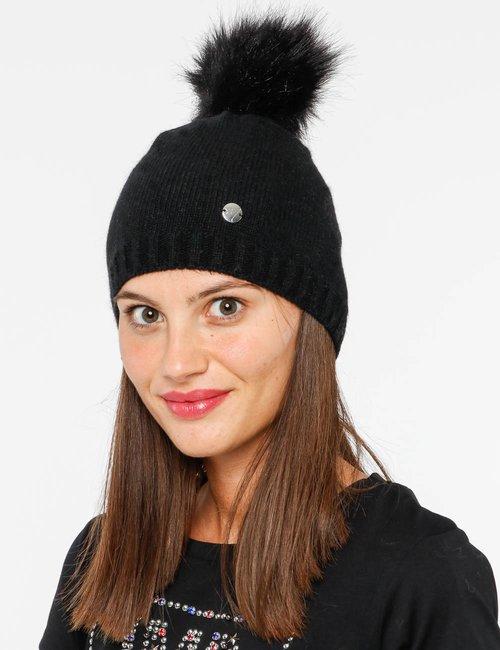 Cappello Maison Espin con pompon - Nero