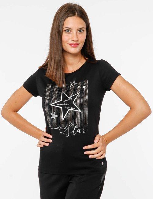 T-shirt Maison Espin con borchie - Nero