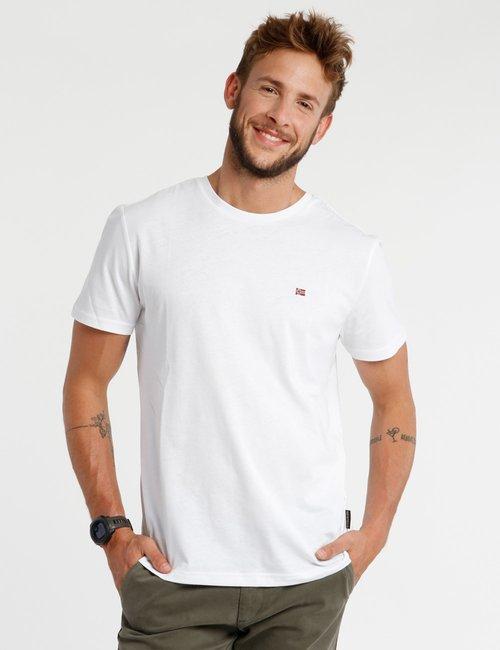 T-shirt Napapijri con logo ricamato a lato - Bianco