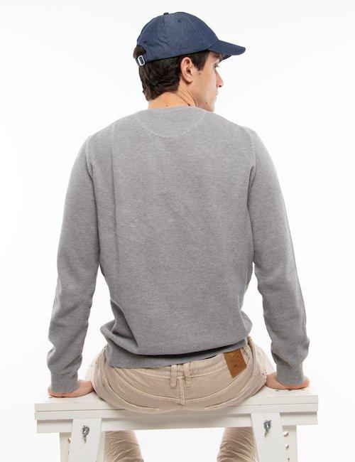 Maglia Gant girocollo in cotone - Grey_Turquoise