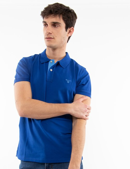 Polo Gant in cotone - Blu Elettrico