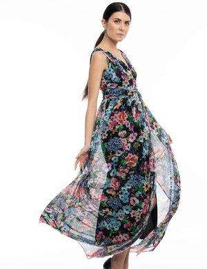 Vestito Akè lungo con stampa floreale