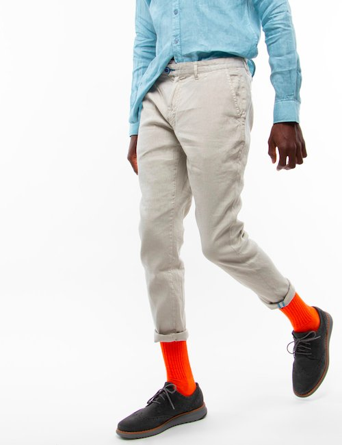 Pantalone Fred Mello in lino - Sabbia