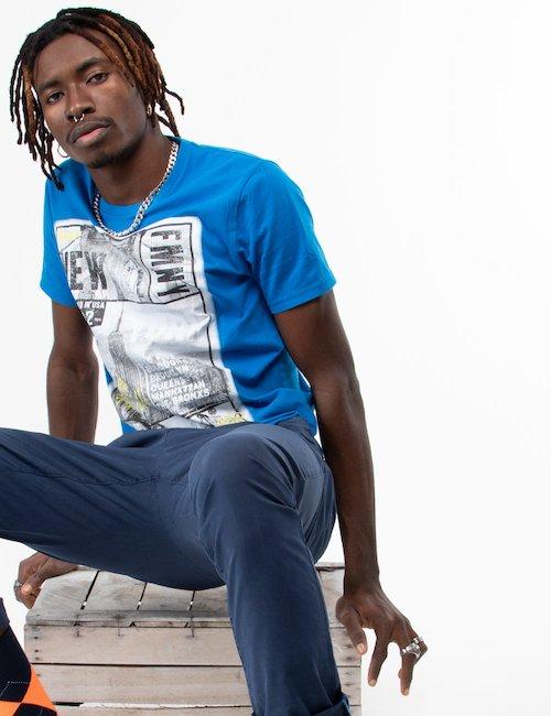 T-shirt Fred Mello in cotone con grafica - Turquoise_Blue