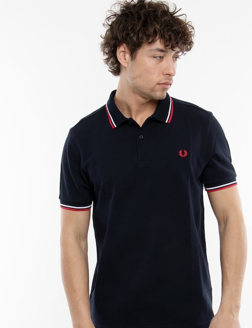 Polo Fred Perry con doppia riga - Blue_Pearl