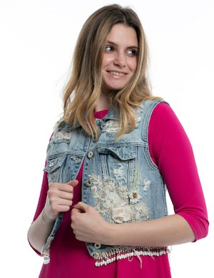 Gilet in Jeans Fracomina con applicazioni