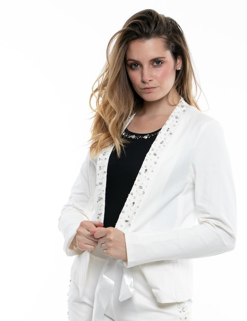 Giacca Fracomina con perle e lustrini - White