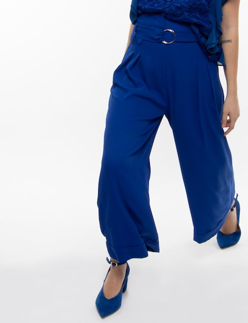 Pantalone Fracomina palazzo a vita alta - Blu Elettrico