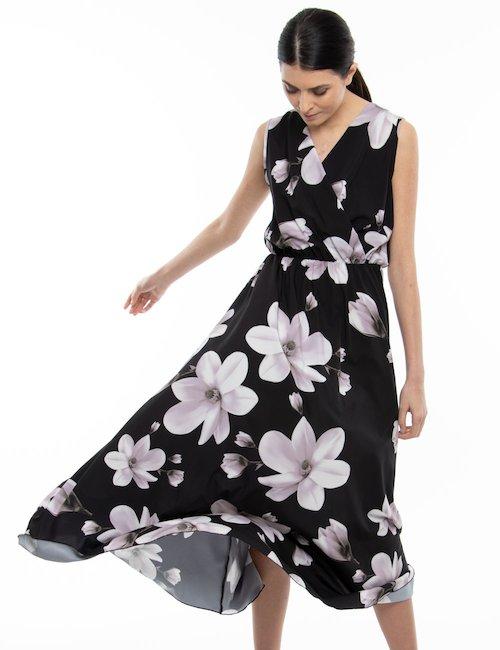 Vestito Vougue lungo a fiori - Nero